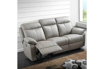 le dernier 4eeb5 994d2 Canapé relax électrique 3 places cuir gris - vyctoire - l 201 x l 95 x h  101 - neuf
