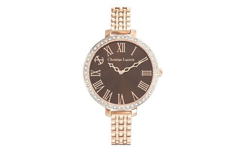 Montre femme cadran marron 38 mm et bracelet rose doré en acier clwe36