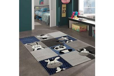 Tapis Rond Pour Le Salon Zoo Bleu 100 X 100 Cm Tapis Pour Enfants Chambre Par Unamourdetapis