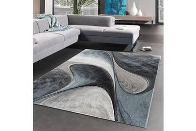 Tapis Rond Pour Le Salon Madila Bleu 100 X 100 Cm Tapis De Salon Moderne Design Par Unamourdetapis