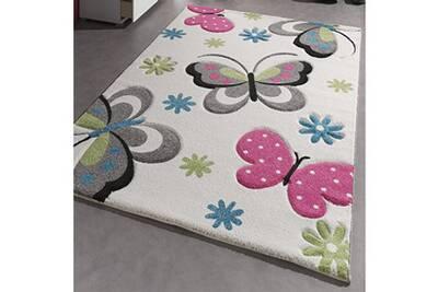 Tapis chambre kids papillons creme 80 x 150 cm tapis pour enfants chambre  par unamourdetapis