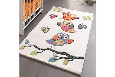 Tapis chambre kids chouettes beige 60 x 110 cm tapis pour enfants chambre  par unamourdetapis