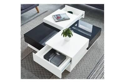 Miami Table Basse Carree Style Contemporain Laquee Noir Et Blanc Brillant L 91 X L 91 Cm