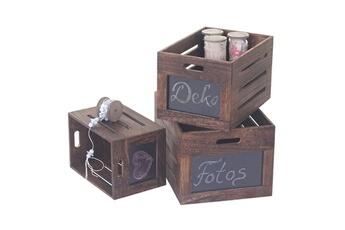 Etagère   Rangement 3x boîte en bois troyes, box de conservation avec  tableau, style 15cbab1c5d87