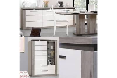 Salle à manger complète bois grisé/laque blanche - nova