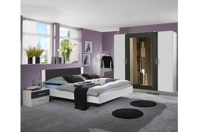Chambre Adulte Coloris Blanc Anthracite 160 X 200 Cm Pegane