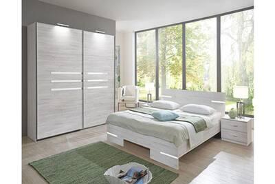 Chambre adulte imitation chêne blanc en panneaux de particules - 160 x 200  cm -pegane-