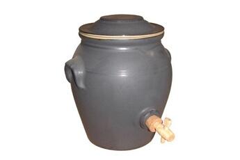 DIGOIN CERAMIQUE Pot à vinaigre en grès avec robinet - 4 L - étain