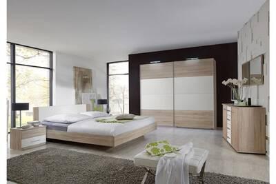 Chambre adulte imitation chêne en panneaux de particules 180 x 200  cm.-pegane