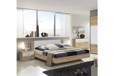 Chambre adulte 140 x 200 cm imitation chêne poutre/blanc -pegane-