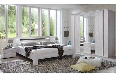Chambre adulte imitation chêne blanc / gris brillant - 180 x 200 cm-pegane-