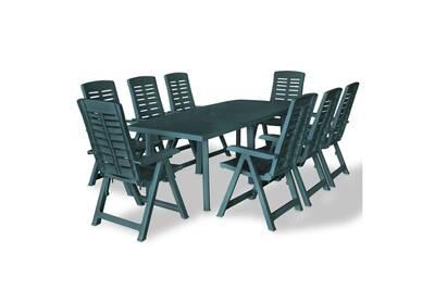 Mobilier de jardin edition séoul mobilier à dîner d\'extérieur 9 pcs  plastique vert