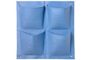 NATURE Mur végétal en tissu feutré 4 poches - 50x49,5cm - Bleu provence