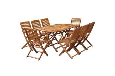 Mobilier de jardin edition skopje mobilier à dîner pliable de jardin 9 pcs  bois d\'acacia solide