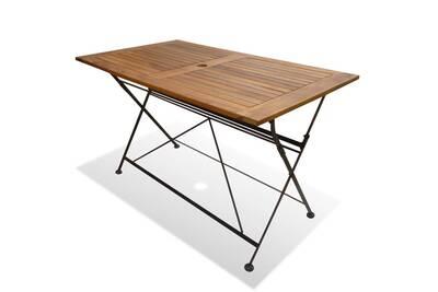Mobilier de jardin ensemble tirana table pliable de jardin bois d\'acacia  120 x 70 x 74 cm