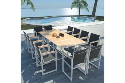 Meubles de jardin collection alger mobilier d\'extérieur 13 pcs 220x100x72  cm aluminium wpc marron