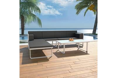 Meubles de jardin ensemble riyad ensemble de canapés de jardin 13 pcs  textilène aluminium noir et blanc