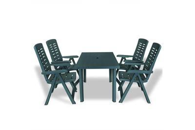 Mobilier de jardin gamme tirana mobilier à dîner d\'extérieur 5 pcs  plastique vert