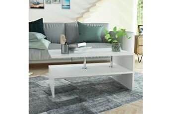 Table Basse En Agglomere 90 X 59 42 Cm Blanc Vidaxl