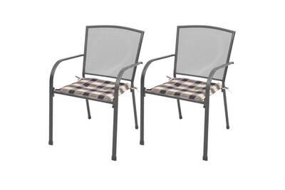 Empilables De Pcs Acier Chaises 2 Jardin Avec Coussins Gris m8Nn0w
