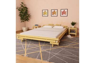 Dosseret et tête de lit Vidaxl Lit en bambou 160 x 200 cm naturel ...