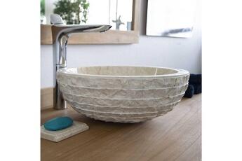 Vasque de salle de bain Vasque de salle de bain à poser en marbre crème, e1b9d7223460