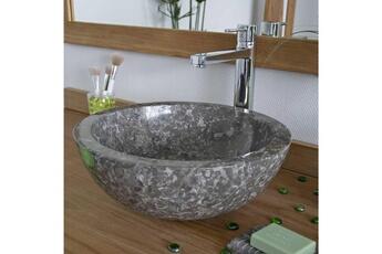 Vasque de salle de bain Vasque de salle de bain à poser en marbre gris, 8bacd43ec0ae