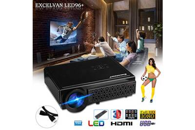 96Native 1080p Projecteur Support Plug 1280800 Eu Excelvan Noir Led 4R5LAj