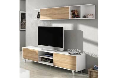 énorme réduction d7c3f 9e351 Zaiken plus meuble tv scandinave blanc brillant et décor chene - l 180 cm