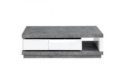 Reverse Table Basse Extensible Style Contemporain Blanc Laque Brillant Et Effet Beton L 120 166 X L 59 Cm