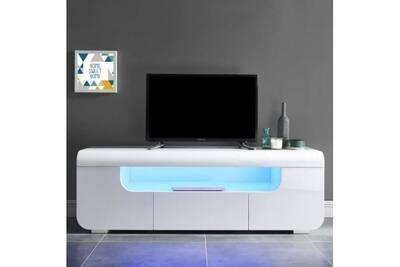 Meuble Tv Aucune Miami Meuble Tv Avec Led Contemporain Laque Blanc Brillant L 150 Cm Darty
