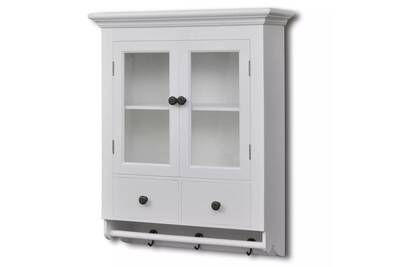 armoires et meubles de rangement famille sofia placard mural de cuisine avec porte en verre bois blanc