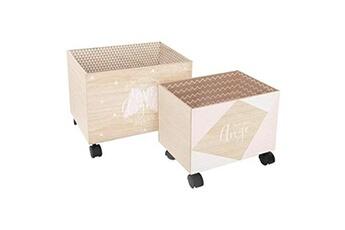Coffre à jouets Atmosphera 2 caisses de rangement roulettes blanc rose