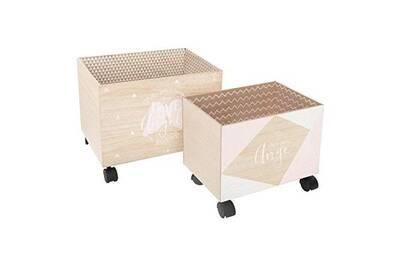 vente chaude en ligne 52dba e808e 2 caisses de rangement roulettes blanc rose