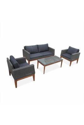 Salon de jardin valencia en bois et résine tressée arrondie, coussins gris  anthracite, 4 places assises, design scandinave