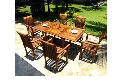 Salon de jardin en teck avec 6 fauteuils empilables