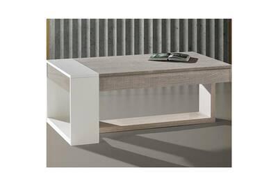 Table basse relevable chêne clair/blanc - esteban