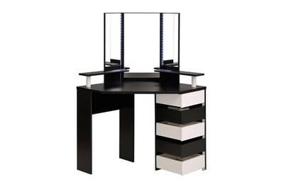 Petit meuble tousmesmeubles coiffeuse d 39 angle 5 tiroirs noir blanc vicky darty - Petit meuble d angle blanc ...