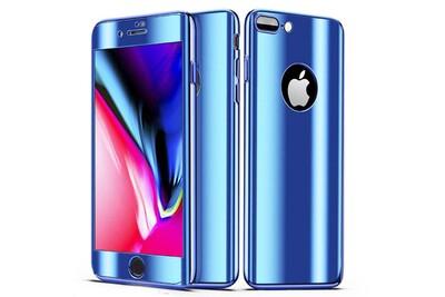 Coque full 360 hybride effet miroir bleu vitre verre trempã© pour apple iphone 8 plus