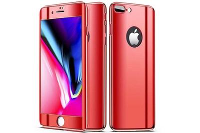 Coque full 360 hybride effet miroir rouge vitre verre trempã© pour apple iphone 7 plus