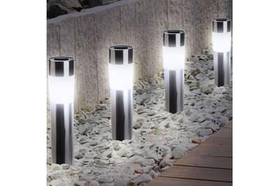 Luminaire solaire Probache Balise solaire design inox x4 borne de ...