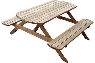 Table pique-nique avec bancs en bois rondo
