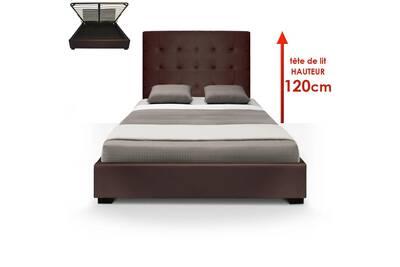 lit de 2 places menzzopremium lit coffre trevene sommier. Black Bedroom Furniture Sets. Home Design Ideas