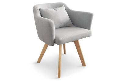 Chaise scandinave dantes gris fauteuil tissu qzSUpMV