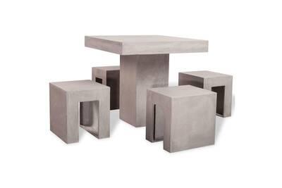 Mobilier de jardin selection tripoli mobilier de salle à dîner d\'extérieur  5 pcs béton