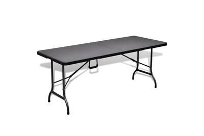 Mobilier de jardin gamme tokyo table pliable de jardin noir 180x75x72 cm  pehd imitation rotin
