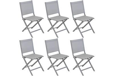 Chaise et fauteuil de jardin Proloisirs Chaises pliantes en aluminium brossé  thema (lot de 6) d504fc7100e8