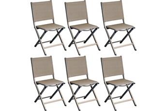 Chaise Et Fauteuil De Jardin Chaises Pliantes En Aluminium Thema Lot 6 Proloisirs