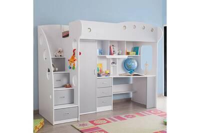 lit enfant somobilia lit combin avec bureau et rangement couchage 90x190 cm combal - Lit Combine Enfant
