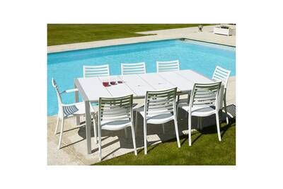 Table de jardin en résine 190x100cm pour 8/10 personnes 2 bacs apéro blanc  sunday